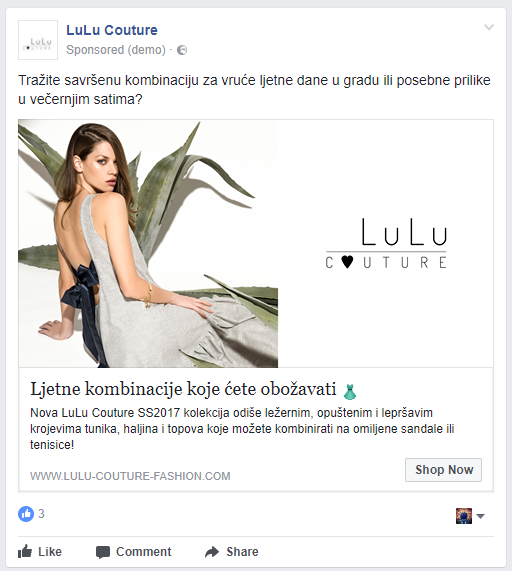 Lulu Couture - Facebook oglašavanje - Red Brick marketing agencija