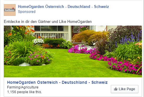 Homeogarden Facebook oglas Austrija - REd Brick marketing agencija